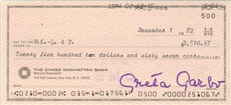 Greta Garbo Near-Mint Signed Personal Bank Check (Beckett/BAS)