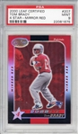 Tom Brady Rare 2000 Leaf Certified 4 Star Mirror Red Rookie Card - PSA MINT 9!
