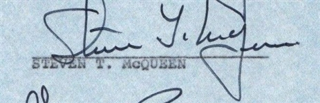 "Steve McQueen Vintage Signed 1.5"" x 3"" Document Clipping (Beckett/BAS)"