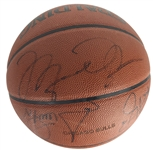 1995-96 World Champion Chicago Bulls Team Signed Game Issued Basketball w/ Jordan, Pippen & More! (Beckett/BAS)