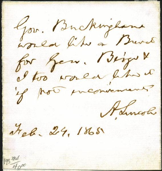President Abraham Lincoln Signed & Hand Written 1865 Brevet Military Appointment (Beckett/BAS Guaranteed)
