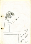 "John Lennon Signed & Hand Drawn 1958 ""Heil John"" Satirical Liverpool College of Art Sketch 8.75"" x 11.75"" Album Page (Caiazzo)"
