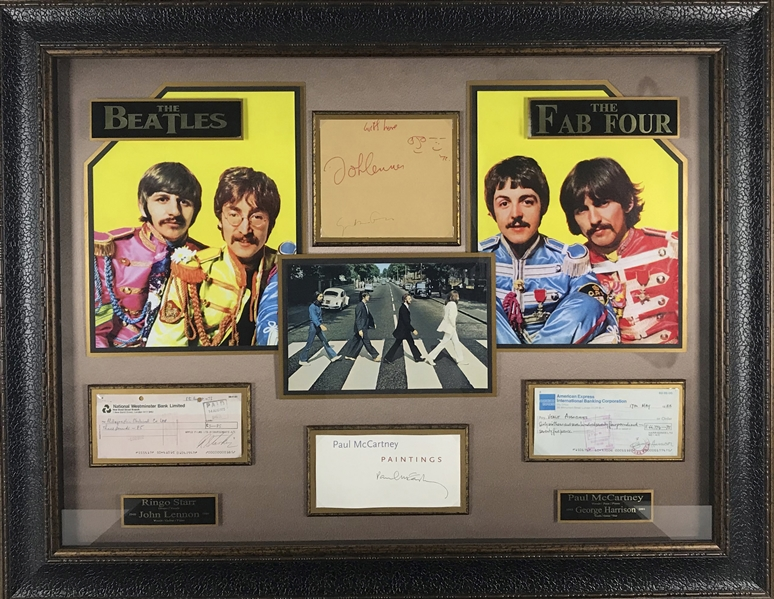 The Beatles Group Signed 36 x 27 Display w/ All Four Members & John Lennon Sketch! (JSA)