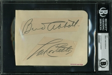"Abbott and Costello Signed 4"" x 5"" Album Page Display (Beckett/BAS Encapsulated)"