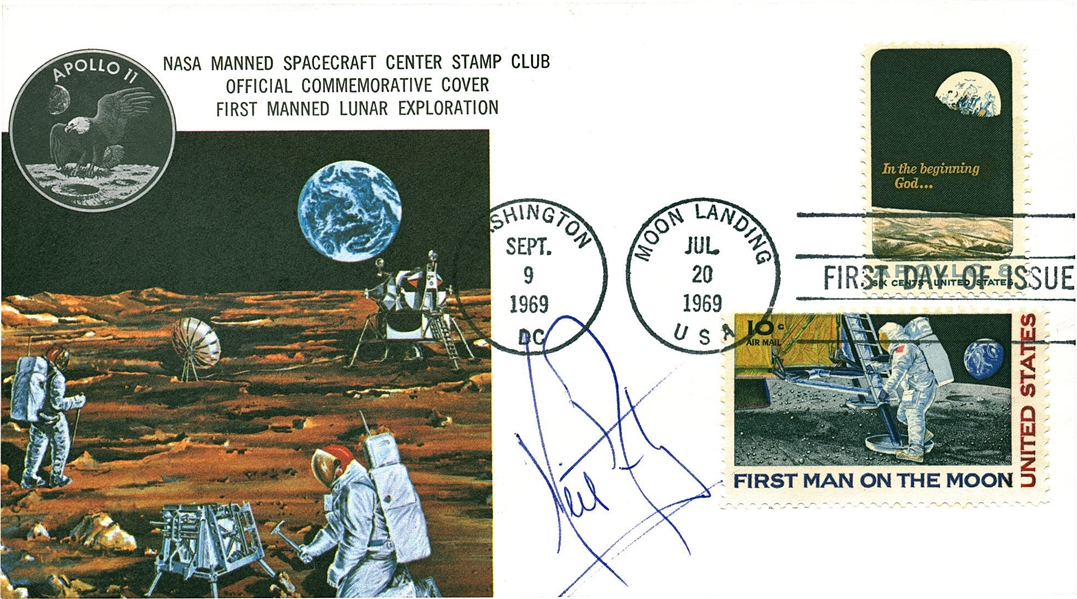 Apollo 11: Neil Armstrong Near-Mint Signed 1969 First Day Cover (JSA)