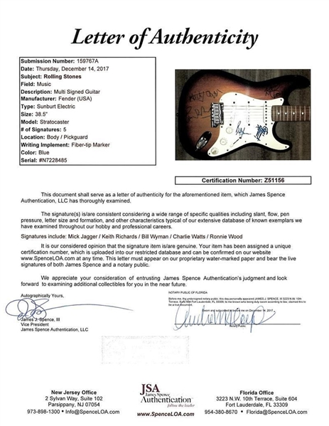 The Rolling Stones Impressive Group Signed American Stratocaster Guitar w/ All Five Members! (JSA)