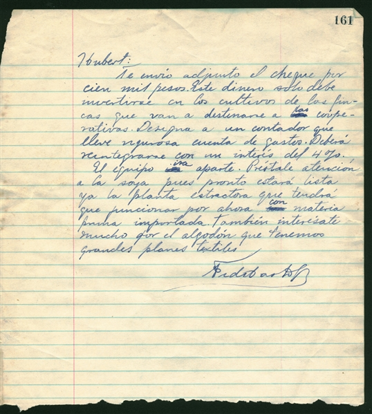 Fidel Castro Rare Signed & Handwritten 9 x 10 Financial Letter (Beckett/BAS Guaranteed)