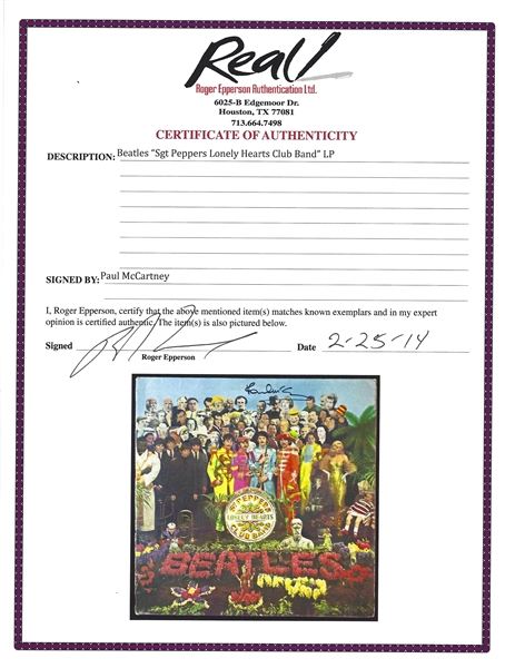 The Beatles: Paul McCartney Signed Sgt Pepper's Lonely Hearts Club Band Record Album Cover (Original 1967 UK Cover)(PSA/DNA & Epperson/REAL LOAs)