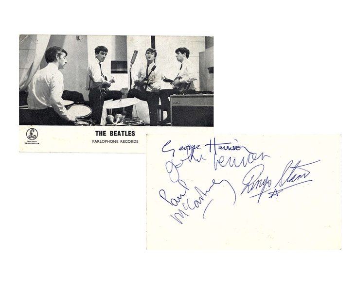 The Beatles Group Signed 3.5 x 6.5 Parlophone Records Promotional Photograph Card Signed At The Cavern Club Beckett/BAS MINT 9!