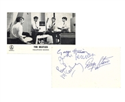 "The Beatles Group Signed 3.5"" x 6.5"" Parlophone Records Promotional Photograph Card Signed At The Cavern Club Beckett/BAS MINT 9!"