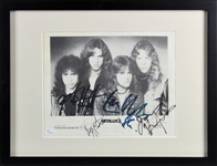 "Metallica ULTRA RARE Signed & Framed 8"" x 10"" B&W Promotional Photo with Cliff Burton! (JSA)"