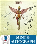 "Nirvana ULTRA RARE Group Signed ""In Utero"" Record Album - Signed Weeks Before Kurts Passing! - Beckett/BAS Graded MINT 9!"