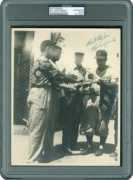 Vintage Roy Campanella Signed 8 x 10 Candid Dodgers Photo w/ RARE Pre-Accident Signature (PSA/DNA Encapsulated)