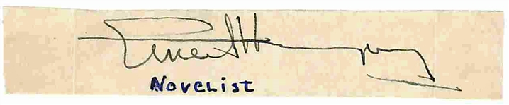 "Ernest Hemingway Near-Mint Signed 1.5"" x 3"" Album Page (Beckett/BAS)"
