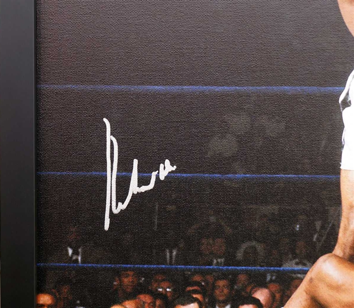 Muhammad Ali Impressive Signed & Frame 20 x 24 Canvas Print feat. Historic Liston KO - PSA/DNA Graded GEM MINT 10!