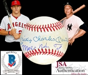 Mickey Mantle & Mike Trout Dual Signed OAL Baseball with Full Name Autographs! (JSA & Beckett/BAS LOAs)