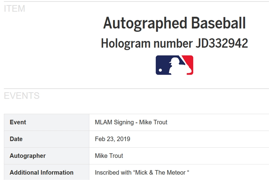 Mickey Mantle & Mike Trout Dual Signed OAL Baseball with Unique Mick + The Meteor Inscription (Beckett/BAS LOA & MLB Auth)