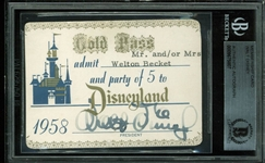Walt Disney Rare Signed 1958 Disneyland Gold Pass for Disney Architect Welton Becket (BAS/Beckett Encapsulated)