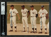 "MLB Legends Multi-Signed 8"" x 10"" Photograph w/ DiMaggio, Mantle, Aaron, Mays & Snider! (BAS/Beckett Encapsulated)"