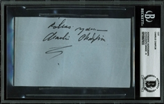 "Charlie Chaplin Signed 3"" x 5"" Signature Cut (BAS/Beckett Graded MINT 9)"