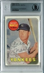 Mickey Mantle Signed 1969 Topps #500A Baseball Card (Beckett/BAS Encapsulated)