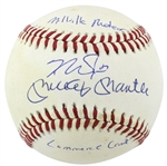 "Mickey Mantle & Mike Trout Dual Signed OAL Baseball with ""Millville Meteor"" & ""Commerce Comet"" Inscriptions by Trout! (PSA/DNA & MLB Hologram)"