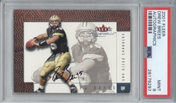 Drew Brees Signed 2001 Fleer Autographics Rookie Card - PSA MINT 9!
