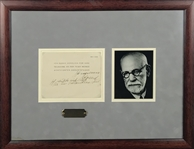 "Sigmund Freud Signed & Hand Notated 6"" x 5"" Album Page in Frame (Beckett/BAS)"