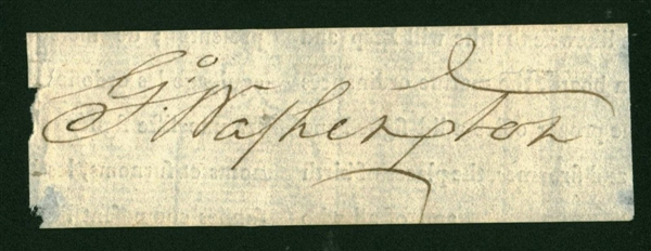 President George Washington Exceptional Signed 2.25 x 4.5 Document Clipping (Beckett/BAS)