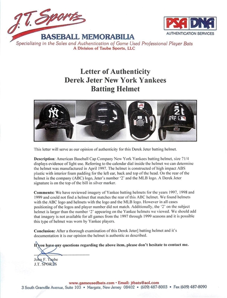 Derek Jeter Rare Game Used & Signed 1997 Batting Helmet (PSA/DNA & JSA)