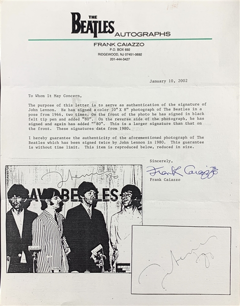 The Beatles: John Lennon RARE Double Signed Color 8 x 10 Photo with The Beatles :: Dated 1980 (Caiazzo LOA)