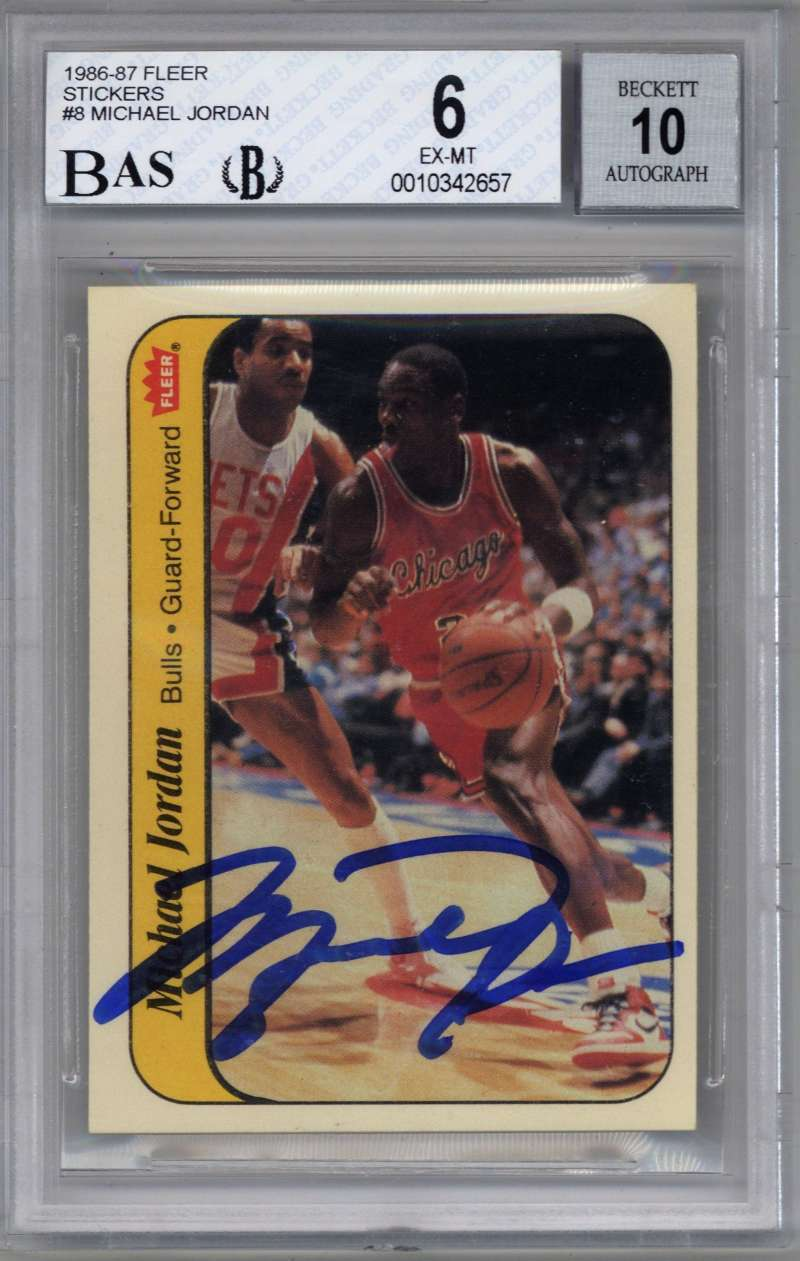 Lot Detail Michael Jordan Signed 1986 Fleer Sticker
