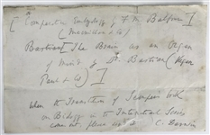 "Charles Darwin Signed & Handwritten 7"" x 5"" Note Requesting Books for Research! (Beckett/BAS)"