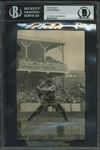 "Honus Wagner Signed 4"" x 6"" B&W Newspaper Photo - Desirable & Scarce Batting Image! (BAS/Beckett Encapsulated)"