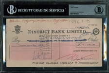 The Beatles: John Lennon Near-Mint Signed 1969 Bank Check (Beckett/BAS Encapsulated)