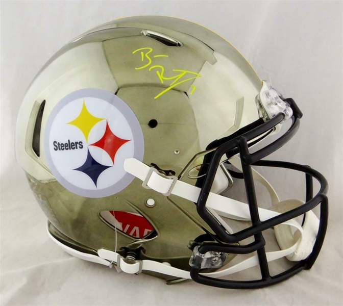 Ben Roethlisberger RARE Signed Pittsburgh Steelers Full Size Authentic CHROME Helmet (Beckett/BAS)