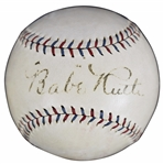 Babe Ruth EXCEPTIONAL Single Signed OAL c. 1928 Quoted Baseball (PSA/DNA)