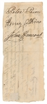John Hancock Superbly Signed Promissory Note/Check (Beckett/BAS)