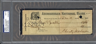 Christy Mathewson Signed & Handwritten 1924 Bank Check (PSA/DNA MINT 9!)