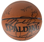 1997-98 NBA Champion Chicago Bulls Team Signed April 7th Game Issued Basketball w/ Jordan, Jackson & Others! (PSA/DNA & UDA)
