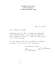 "Norman Rockwell Signed 7"" x 9"" Personal Typed Letter (Beckett/BAS Guaranteed)"