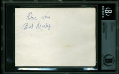 "Bob Marley Exceptional 5"" x 3.5"" Signed Album Page w/ ULTRA-RARE ""One Love"" Lyric Inscription! (Beckett/BAS Encapsulated & Tracks UK)"