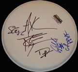 Guns N Roses Rare Group Signed Drumhead w/ 4 Signatures! (ACOA)