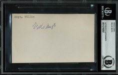 "Willie Mays Vintage Signed 4"" x 5.5"" Index Card w/ Rookie-Era Signature (Beckett/BAS Encapsulated)"