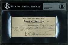 Marilyn Monroe Scarce Handwritten & Signed Early Bank Check (1948)(Beckett/BAS Encapsulated)