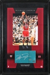 Michael Jordan RARE Game Used & Signed Floorpiece from 1998 Finals Game Six in Framed Display - Jordans Final Game w/ the Bulls! (UDA)