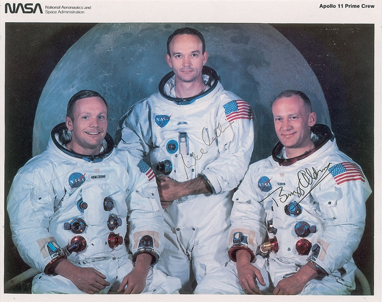 Apollo 11 Group Signed 8 x 10 NASA Prime Crew Photograph w/ Armstrong, Collins & Aldrin! (PSA/DNA)