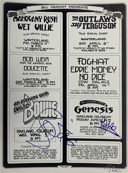 Bill Graham Presents Concert Series 1978: David Bowie & Phil Collins Rare Dual Signed 17 x 22 Poster (Beckett/BAS Guaranteed)