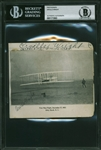 "Orville Wright Signed & Inscribed 4"" x 5"" Photograph Featuring Historic First Manned Flight at Kitty Hawk! (Beckett/BAS Encapsulated)"