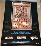 Star Wars RARE Cast Signed Trilogy Poster with 7 Signatures! (PSA/DNA)
